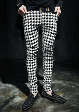 New Men's Western Houndstooth Check Slim Fit Flat Front Casual Pants Trousers