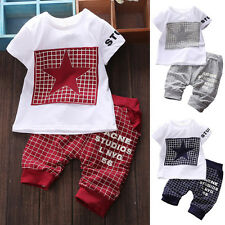 2PCS Baby Kid Toddler Boys Short Sleeve T-shirt Tops +Pants Outfits Clothes Suit