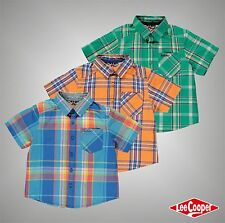 Infant Boys Lee Cooper Stylish Check Short Sleeve Shirt Cotton Top Size Age 2-6