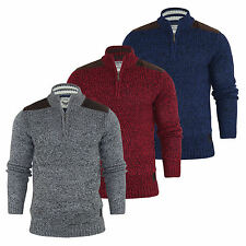 Mens Brave Soul Chunky Knit Jumper Funnel Neck Zip Up Knitted Sweater Top S-XL