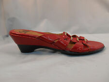 Sofft Red Patent Leather Slide Sandals w/ Small Wedge Women's Size 7.5 M