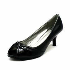 Black patent peep toe kitten heel court shoes