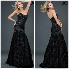 NWT JOVANI BLACK STRAPLESS ROSSETTE GOWN WITH ROCHED BEADED TOP $878 AUTENTIC