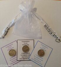 Personalised Bride and Groom  Lucky Sixpence Gift -