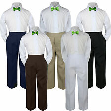 3pc Lime Green Bow Tie Suit Shirt Pants Set Baby Boy Toddler Kid Uniform S-7