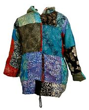 FAIR TRADE INDONESIAN MULTICOLOURED PATCHWORK HIPPY FESTY HOODED TOP HOODY 513