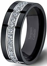 Mens Wedding Band Black Tungsten Ring Fully Stacked with CZ Diamnds Comfort Fit