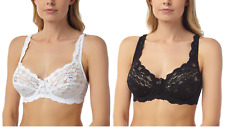 NEW LACE FULL CUP NON-PADDED SUPPORT UNDERWIRED BRA,BLACK & WHITE,34 - 44, B-DD