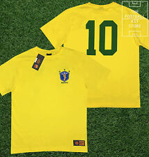 Brazil Shirt - Official Toffs Licensed Retro Football Shirt - Number 10 - Pele