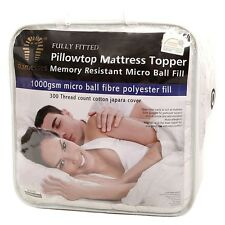 Mattress Topper 100% Cotton Cover, Fitted 45cm Wall, Machine Washable, All Sizes