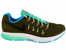NEW MENS NIKE AIR ZOOM PEGASUS 33 RUNNING SHOES TRAINERS METALLIC GREEN / BLACK