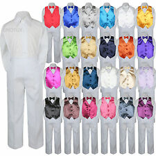 Color Choice 4pc Vest Bow Tie Boy Suit White Set Baby Toddler Kid Formal sz S-7