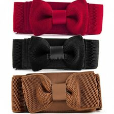 Hot Women Girls Graceful Bowknot Elastic Lovely Belt With Buckle Waistband LM