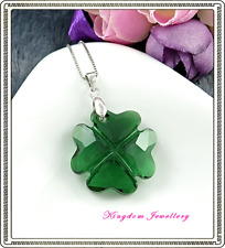 925 Sterling Silver Four Leaf Clover Pendant made with Swarovski Crystals