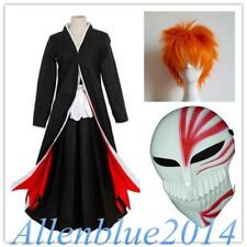 Anime Bleach Ichigo Kurosaki Bankai Cosplay Costume Uniform Cloak Wig Mask Cos