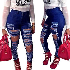 Women's Sexy Trendy High Waisted Distressed Ripped Skinny Jeans Trousers