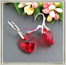 925 Sterling Silver Hearts Earrings made with Clear/Red Swarovski Crystals