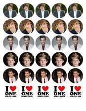 30 X ONE DIRECTION 1D 1 D TOP QUALITY EDIBLE WAFER/RICE PAPER CUP CAKE TOPPERS