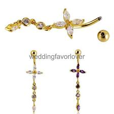 316L Stainless Steel Belly Bar Navel Button Ring Cross Crystal Gem Body Piercing