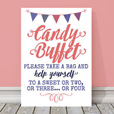 Coral & Blue Candy Buffet Table Sign for Wedding Birthday Party 3 FOR 2 (CB4)