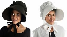 Colonial Bonnet Women's Pioneer Maid Pilgrim Amish Hat Black White