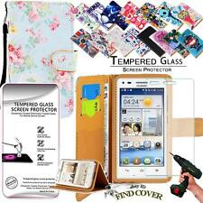 Leather Wallet Case + 100% Tempered Glass Screen Protector For Huawei Ascend G6