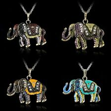 Hot Retro Crystal Animal Elephant Sweater Long Chain Necklace Pendant Jewelry