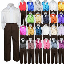 Color Choice 4pc Vest Bow Tie Boy Suit Brown Set Baby Toddler Kid Formal sz S-7