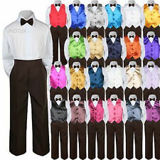 23 Color Choice 4pc Vest Bow Tie Boys Suit Brown Set Baby Toddler Kid Formal S-7