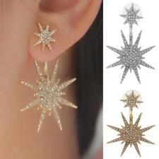 Fashion Women Gold Silver Crystal Dangle Tone Earrings Star Ear Stud Earring
