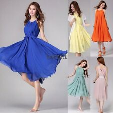 Womens Sleeveless Chiffon Boho Pleated Party Cocktail Evening Summer Dress LM