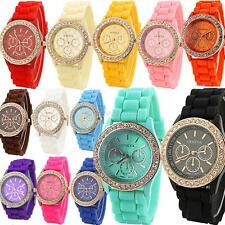 Women Ladies Silicone Quartz Golden Crystal Stone Jelly Wrist Watch Multi-colors