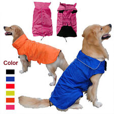 Waterproof Dog Coat Jacket Fleece Lined Reflective Raincoat Dog Clothes XS-3XL