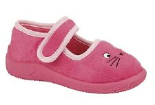 little GIRLS pink cat SLIPPERS boots VELCRO PINK RUBBER SOLES kitten