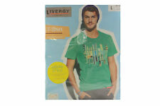 New Livergy Casual Mens Gents Crew Neck Graphic Green Short Sleeve T Shirt - L