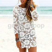 Sexy Women Backless Hollow-out Bikini Cover Up Summer Beach Floral Lace Dress