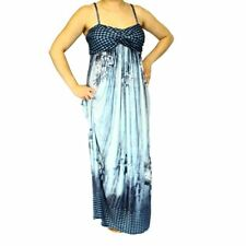 Blue / Grey slinky feel halterneck maxi dress