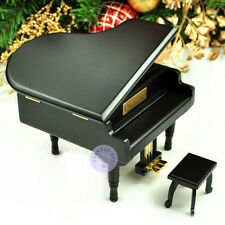 Wooden Piano Sankyo Wind up Music Box With Over 30 Melodies Choice (Black)