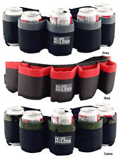 Hops Holster Beer Can Belt - Holds 6 Cans - Gray Red & Camo - Tailgate Drinking!