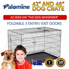"NEW 42 ""& 48"" Large Collapsible Metal Dog Puppy Pet Cage Crate Kennel Folds"