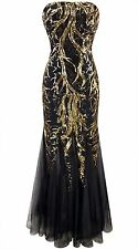 Black Evening Gown Sexy Sequin Long Dress Prom Bridesmaid Bare size 10 14 16 18