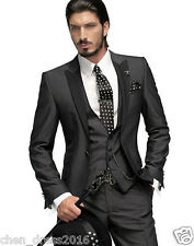 Slim Fit Black Best Men Groomsman Men's Wedding/Prom 3 Piece Suits Groom Tuxedos