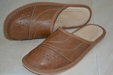 Mens Real Sheep Skin Leather Brown Slippers Sandal Shoes Handmade In Poland New