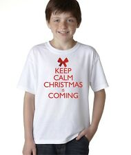 Keep Calm Christmas Is Coming Funny T-Shirt for Kids Boys Santa Holiday Tee