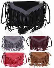 New Faux Leather Front-Fringe Tassel Crossbody Handbag Clutch FREE UK P&P