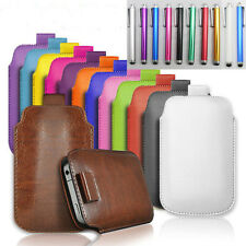 PULL TAB PU LEATHER POUCH  COVER CASE *only* fits Sony Xperia M4 Aqua + Stylus