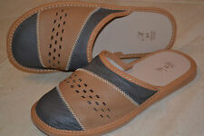 Mens Sheep Leather Tan Grey Slippers Sandal Shoes Handmade In Poland Scuffs New