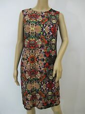 New Red & Black Floral Print Jersey Knit Sheath Summer Dress Sz S~L