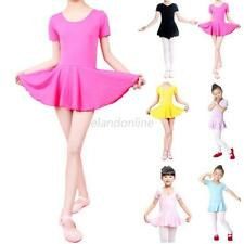 Child Kids Girls Short Sleeve Leotard Gymnastics Ballet Dance Dress Dancewear