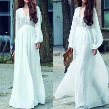 Fashion Women Chiffon Plunging V Neck Long Sleeve Long Maxi Swing Dress US LM